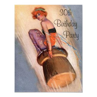 "Vintage Pin Up Girl & Champagne Cork 30th Birthday 4.25"" X 5.5"" Invitation Card"