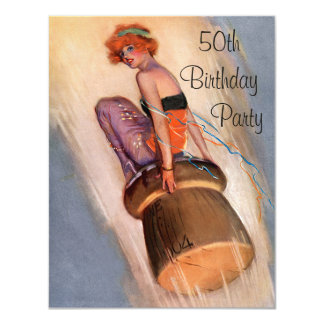 "Vintage Pin Up Girl & Champagne Cork 50th Birthday 4.25"" X 5.5"" Invitation Card"