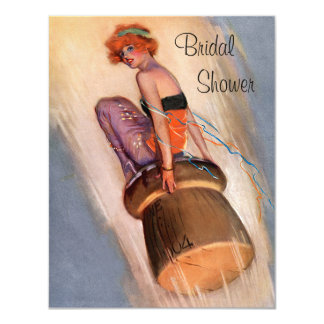 "Vintage Pin Up Girl & Champagne Cork Bridal Shower 4.25"" X 5.5"" Invitation Card"