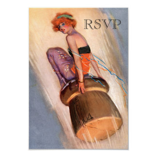"Vintage Pin Up Girl & Champagne Cork RSVP 3.5"" X 5"" Invitation Card"