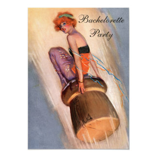 "Vintage Pin Up Girl on Champagne Cork Bachelorette 5"" X 7"" Invitation Card"