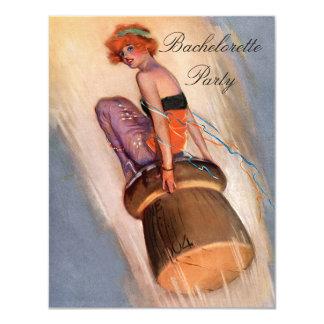 "Vintage Pin Up Girl on Champagne Cork Bachelorette 4.25"" X 5.5"" Invitation Card"