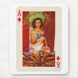 Vintage Pin Up Girl Playing Card Ace of Diamonds Mouse Pad
