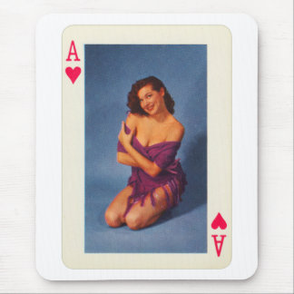 Vintage Pin Up Girl Playing Card Ace of Hearts Mouse Pad