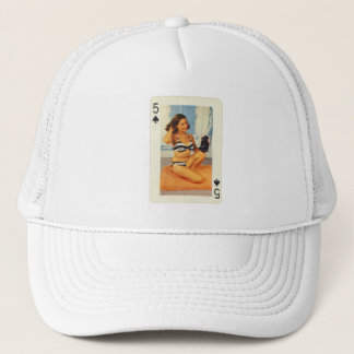 Vintage Pin Up Girl Playing Card Five of Spades Trucker Hat