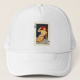 Vintage Pin Up Girl Playing Card Jack of Spades Trucker Hat