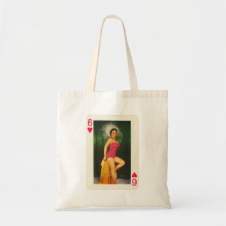 Vintage Pin Up Girl Playing Card Six of Hearts Tote Bag