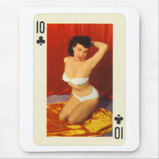 Vintage Pin Up Girl Playing Card Ten of Clubs Mouse Pad