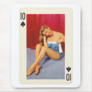 Vintage Pin Up Girl Playing Card Ten of Spades Mouse Pad