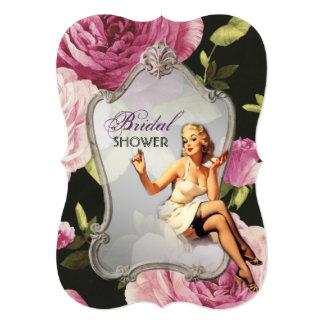 "vintage pin up girl retro Bridal Shower Tea Party 5"" X 7"" Invitation Card"