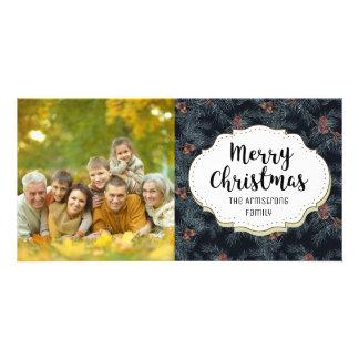 Vintage Pine Cone Swag Christmas Photo Card