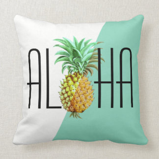 Vintage PineApple  Aloha Text Geometric Background Throw Pillow