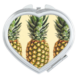 Vintage pineapple love heart compact mirror