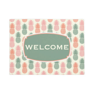 Vintage Pineapple Pattern   Add Your Name Doormat