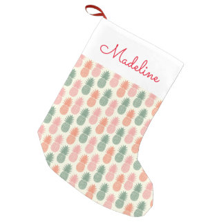 Vintage Pineapple Pattern | Add Your Name Small Christmas Stocking