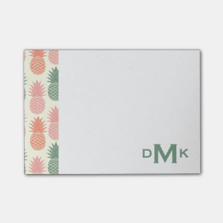 Vintage Pineapple Pattern | Monogram Post-it Notes