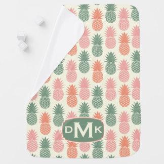 Vintage Pineapple Pattern | Monogram Receiving Blankets
