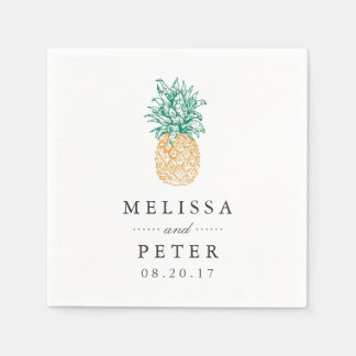 Vintage Pineapple Personalized Wedding Paper Napkins