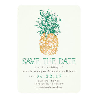 Vintage Pineapple Save the Date Card