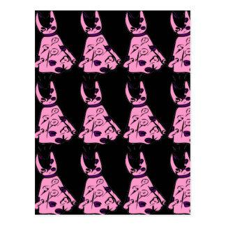 Vintage Pink 50s Be-bop Dress Postcard