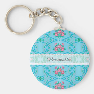Vintage Pink and Blue Wallpaper With Name Basic Round Button Keychain