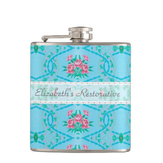 Vintage Pink and Blue Wallpaper With Name Hip Flask