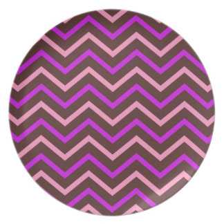 Vintage Pink And Brown Chevron Pattern Plate