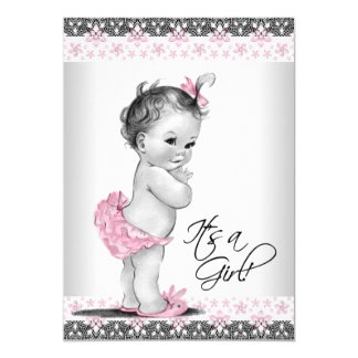 """Vintage Pink and Gray Baby Girl Shower 5"""" X 7"""" Invitation Card"""