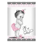 Vintage Pink and Gray Baby Girl Shower Personalized Invitations