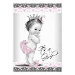Vintage Pink and Gray Baby Girl Shower Invites