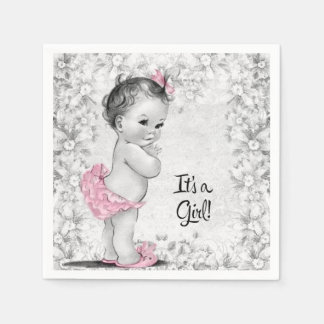 Vintage Pink and Gray Baby Shower Paper Napkin