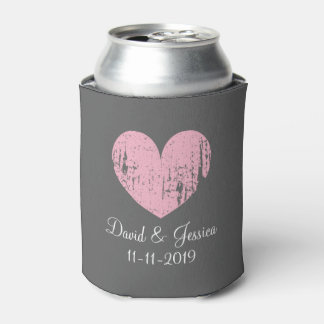 Vintage pink and gray heart wedding can coolers can cooler
