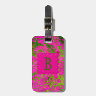 Vintage Pink and Green Damask Luggage Tag