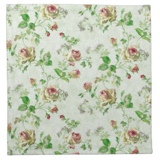 Vintage Pink and Green Roses Pattern Napkin