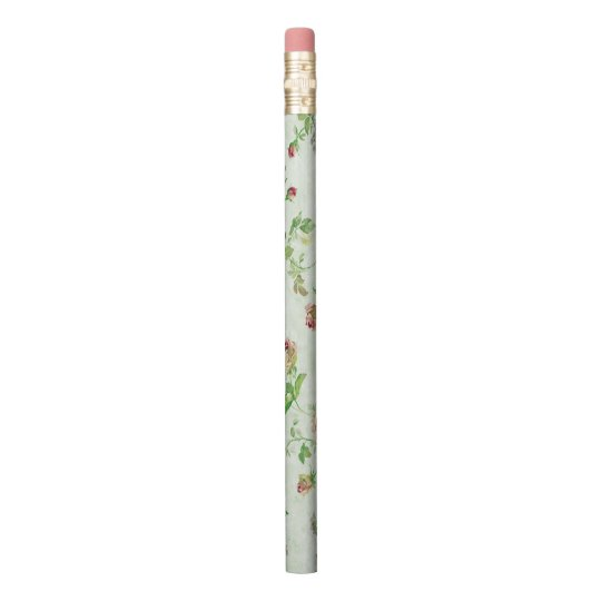 Vintage Pink and Green Roses Pattern Pencil