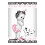 "Vintage Pink and Grey Baby Girl Shower 5"" X 7"" Invitation Card"