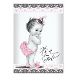 Vintage Pink and Grey Baby Girl Shower Personalized Invite