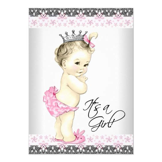Vintage Pink and Grey Princess Baby Girl Shower Card