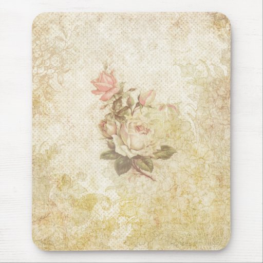 Vintage Pink and Ivory Rose Mousepads