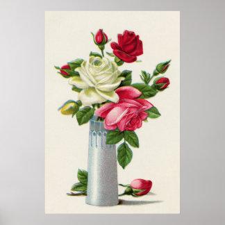 Vintage Pink and Red Rose Vase Print