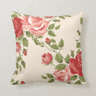 Vintage Pink and Red Roses Decorative Throw Pillow