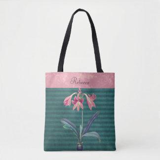 Vintage Pink and Teal Amaryllis Flower Tote Bag