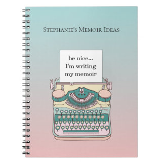 Vintage Pink and Teal Typewriter Customizable Text Notebook