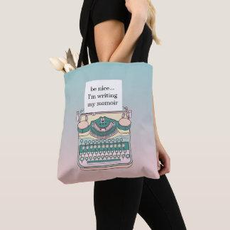 Vintage Pink and Teal Typewriter Customizable Text Tote Bag