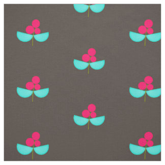 Vintage pink and turquoise flowers with dark brown fabric