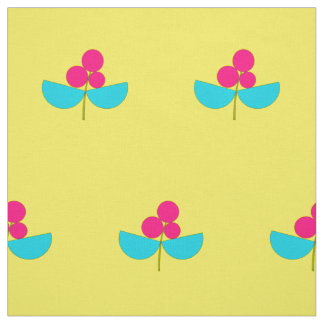 Vintage pink and turquoise flowers with yellow fabric
