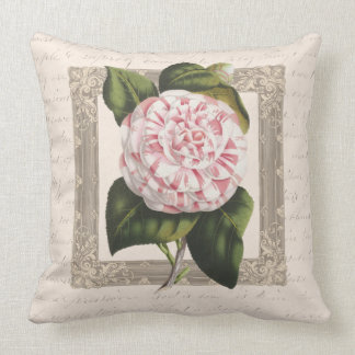 Vintage Pink and White Camellia Throw Pillow