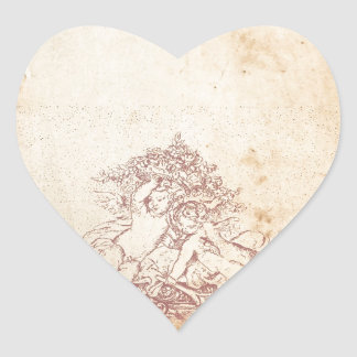 Vintage Pink Angels Heart Sticker