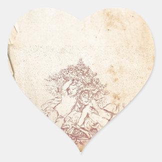 Vintage Pink Angels Heart Sticker