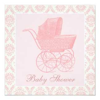 "Vintage Pink Baby Carriage Baby Girl Shower 5.25"" Square Invitation Card"